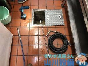 橋本市彩の台で根っ子除去ノズルを使った洗管作業は山川設備にお任せ下さい。