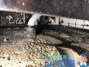 大阪市此花区島屋の排水ジャバラホースは防臭キャップで固定します。山川設備にお任せ下さい。