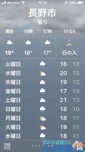 長野市の天気予報をみて2日間活動出来そうなのを確認しました。
