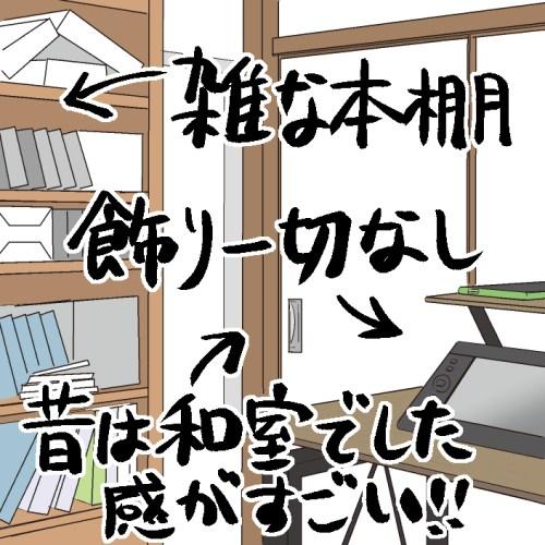 雑な本棚、飾り一切なし、昔は和室でした感がすごい!!