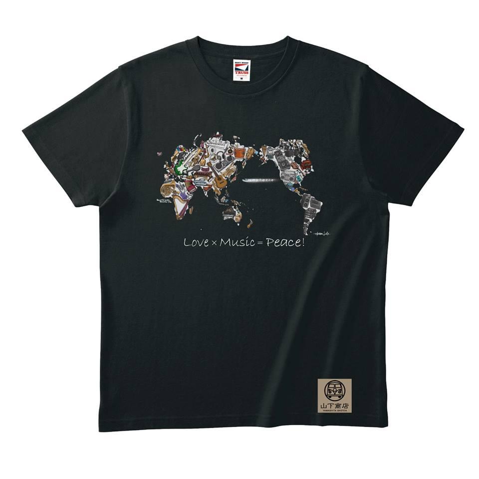 大人気!Love×Music=Peace! Tシャツ 黒