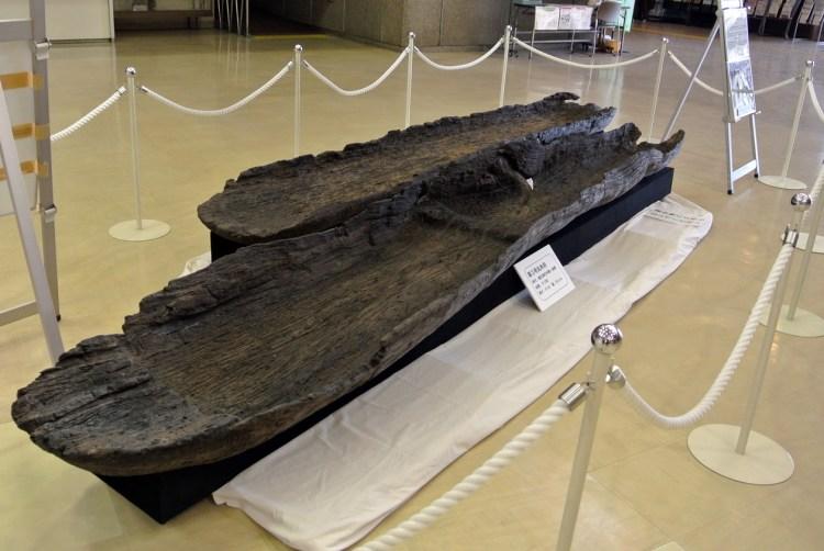 市役所からほど近い場所で発掘された丸木舟。
