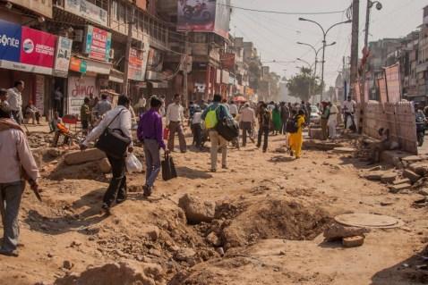 Rue détruite d'Old Delhi