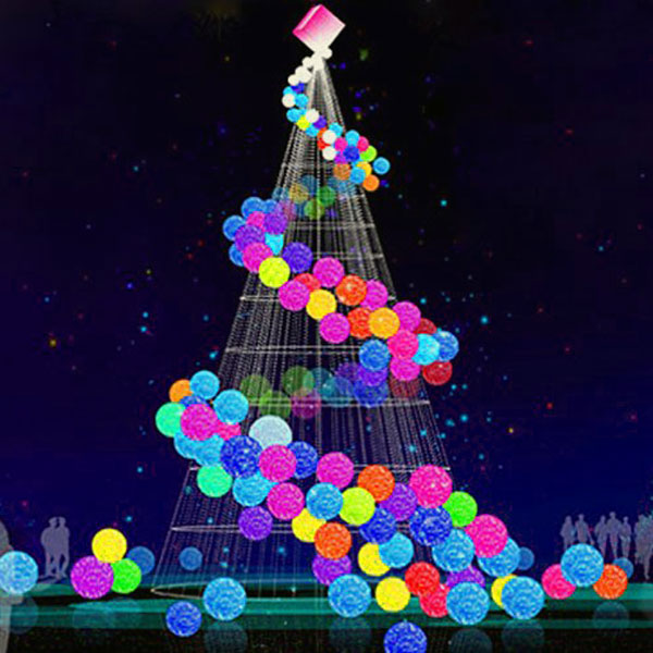 Sophisticated Christmas Tree: Colorful Modern Christmas Trees With Light Balls