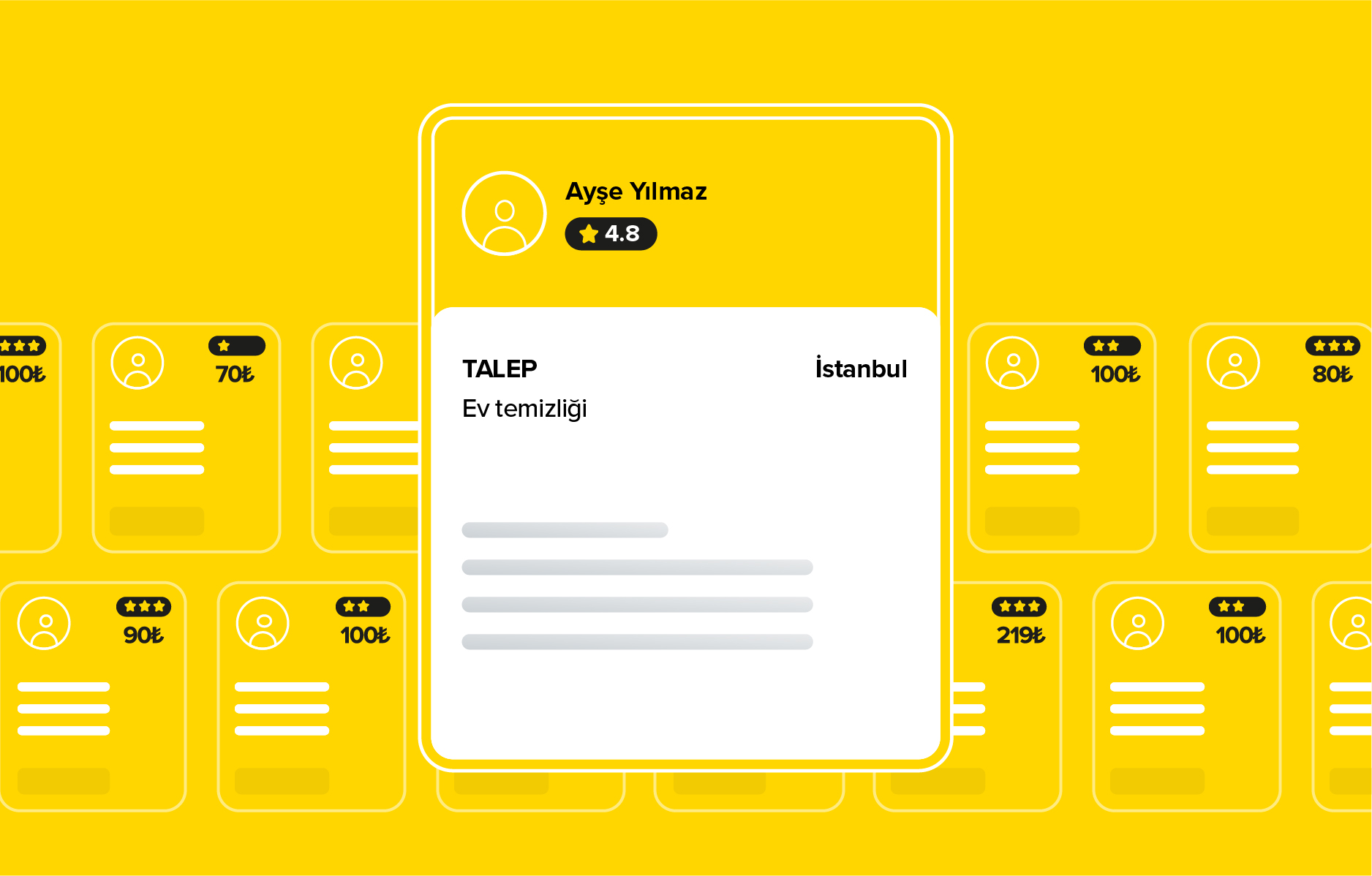 Ev temizliği talep ekran görüntüsü Yandestek App