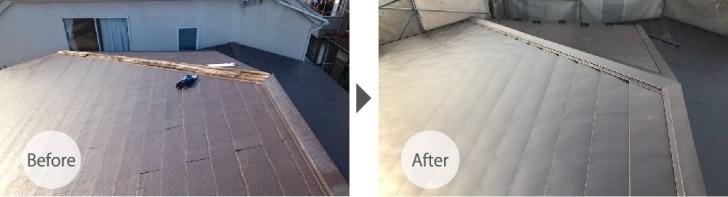 千葉市緑区の屋根カバー工法のビフォーアフター