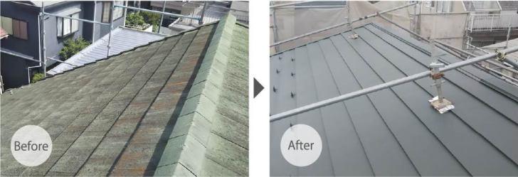 杉並区の屋根葺き替え工事のビフォーアフター