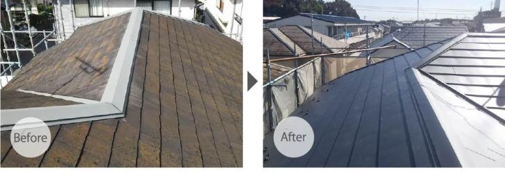 千葉市の屋根リフォームの施工事例のビフォーアフター