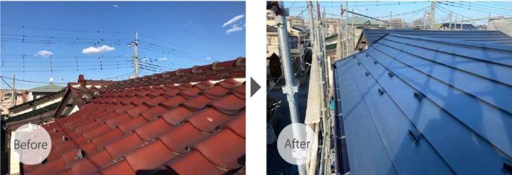 松戸市の屋根葺き替え工事のビフォーアフター