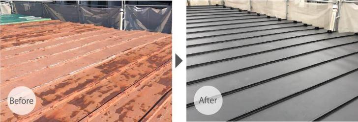 川崎市の屋根葺き替え工事のビフォーアフター