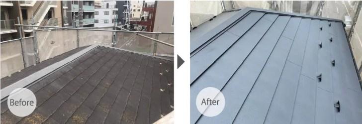 江東区の屋根リフォームのビフォーアフター