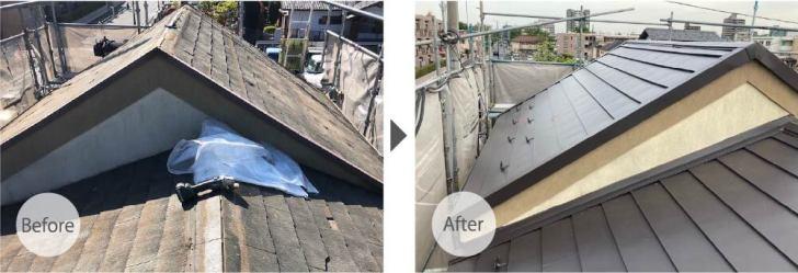 練馬区の屋根リフォームのビフォーアフーター