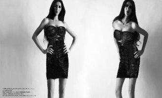 YANE MODE.Glamour. Stapless Detail Front Metallic Knit Dress