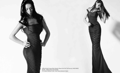 YANE MODE.Glamour. Hollywood Ruffles Rolled Strapes Black Metallic Rayon Knit Fish Tail Dress