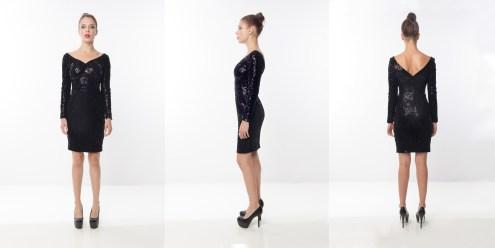 Look 1 - Metallic Printed Sequins Velveteen Wide V Neck Evening Woven Dress