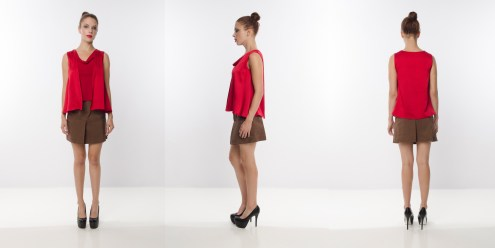 Look 17 – A line Woven Silk Flare Layering Red Knit Top . High Waisted Pleated Brown Skirt
