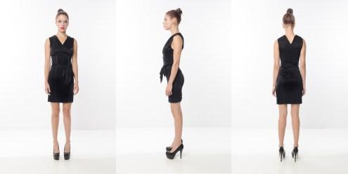 Look 2 – High Shine Supreme Lightweight Tie Waist Black Rayon Knit Party Dress