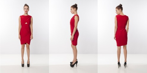 Look 3 - Asymmetrical Warp Front Layering Cut-Out Red Rayon Knit Party Dress