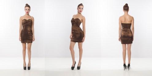 Look 9 – Pleated Front Lightweight High Shine Metallic Bronze Woven Mini Dress
