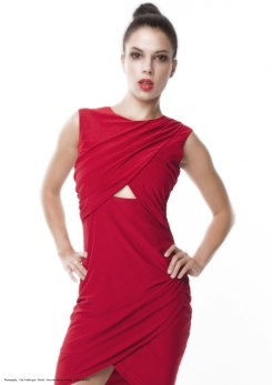 yane mode . lookbook . artisan . Look 3 - Asymmetrical Warp Front Layering Cut-Out Red Rayon Knit Party Dress