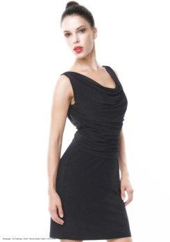 yane mode . lookbook . artisan . Look 4 - Draped Front Deep V Back Black Rayon Knit Work Dress