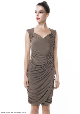 yane mode . lookbook . artisan . Look 6 - Drapes Front Open Back Beige Rayon Knit Evening Ruching Dress