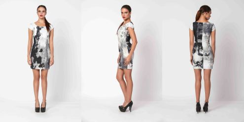 yane mode . lookbook . visionary . Look 1 - Artisic Ink Printed Dress side . overview