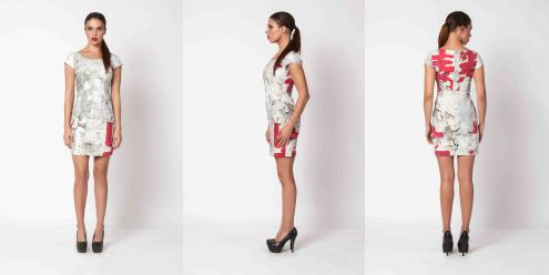 yane mode . lookbook . visionary . Look 3 - Artistic Ink Printed Dress . overview