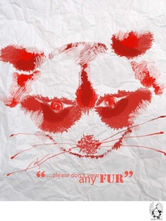 dont wear fur inkblot animals YAN FONG Born Free USA American Appeal poster4