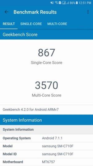 Samsung Galaxy J7+ Geekbench 4