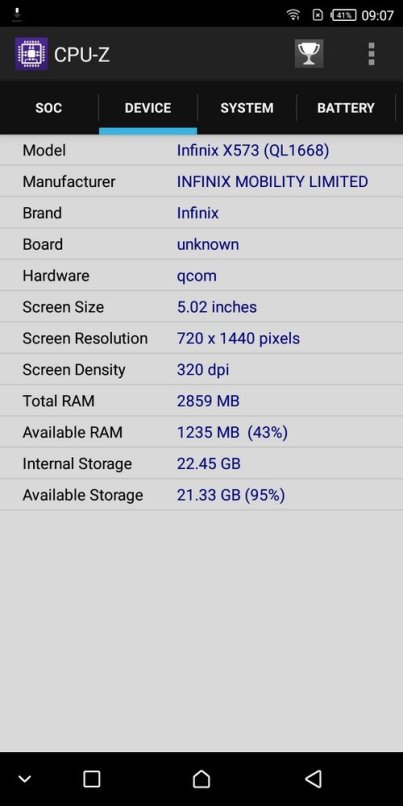 Infinix Hot S3 CPU Z (3)