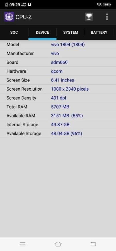 Vivo V11 Pro UI CPU Z (2)