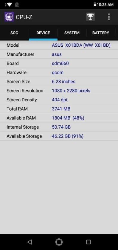 Asus ZenFone Max Pro M2 CPU Z (3)