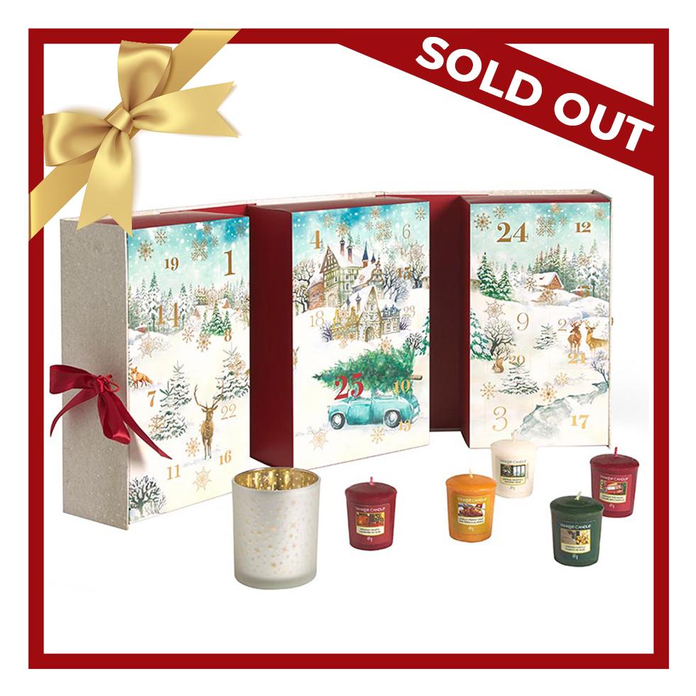 Xmas 20 Advent Book 12 Votive & 12 Tea Lights & 1 Votive Holder