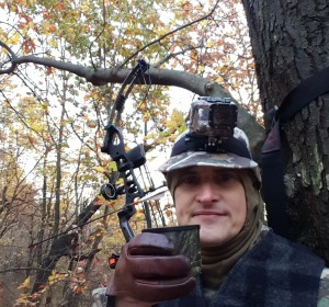Drinking coffee in the treestand