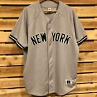 VTG Gray Russell Athletic New York Yankees Stitch Sewn Baseball Jersey L