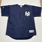 Vintage MLB New York Yankees Pin Stripe Jersey Majestic Blue Made USA XL 1990s