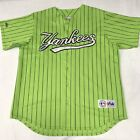 🌴MLB New York Yankees Men's XL Green Striped SS Button Down Embroided Jersey🌴