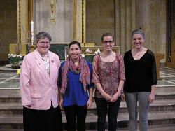 At the recent Oblation ceremony, Dr. Theresa Lafferty and Jamie Thelen made final Oblation, and Krista Radke and Kirsti Skuza were enrolled as Oblate novices in the Mount Marty College Oblate chapter.