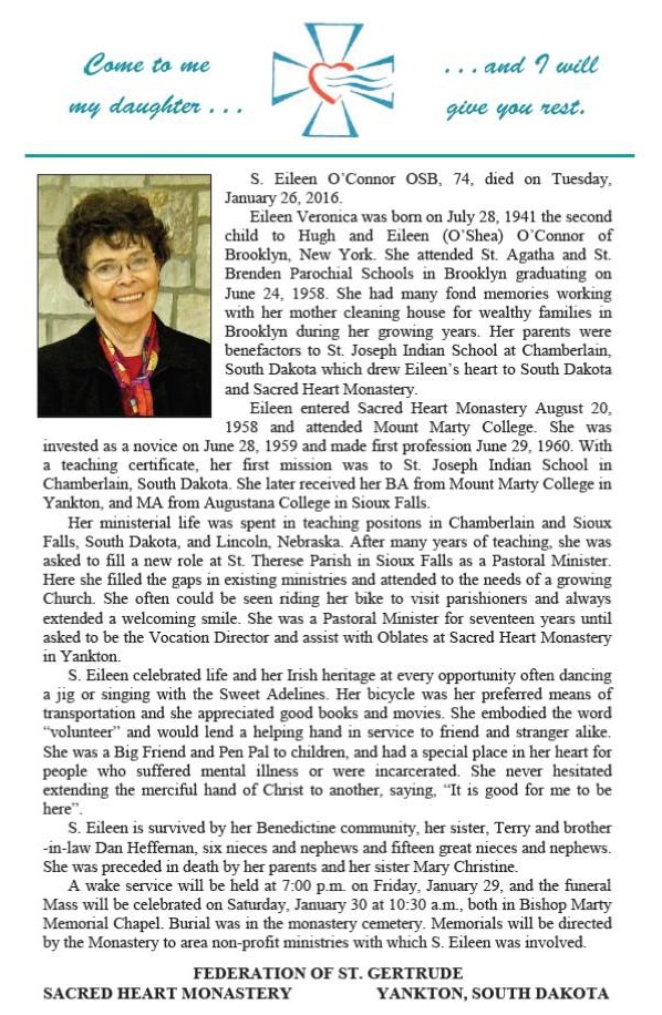 Sister Eileen OConnor Obituary Story Yankton Benedictines Sacred Heart Monastery Sisters