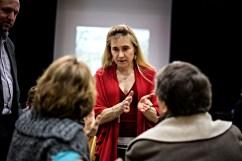 17 mars 2015, Agde. Agnès Gizard-Carlin (EELV) candidate dans le canton d'Agde pour les départementales 2015. Meeting à la salle pour tous d'Agde.