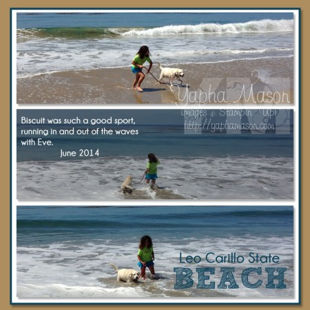 Biscuit at the Beach scrapbook page by Yapha