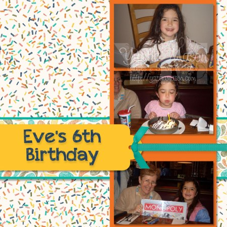 6th Birthday Scrapbook Page by Yapha