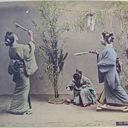 Kusakabe Kimbei tərəfindən əl ilə rənglənən albümdən çap. Vikipediya - elektron ensiklopediya.