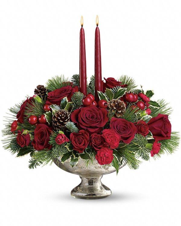 Mercury Glass Bowl Bouquet Yara Flowers