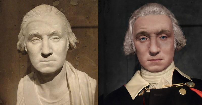 George Washington Life Mask Facial Reconstruction Houdon