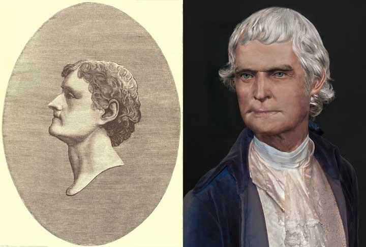 Thomas Jefferson Life Mask Portrait comparison
