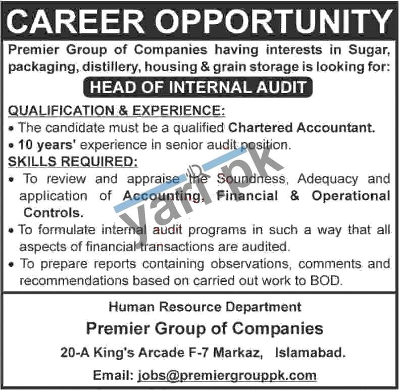 Head of Internal Audit Jobs in Premier Group of Companies