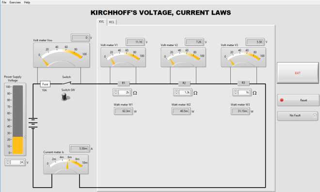 Kirchhoff's voltage, current laws software simulator