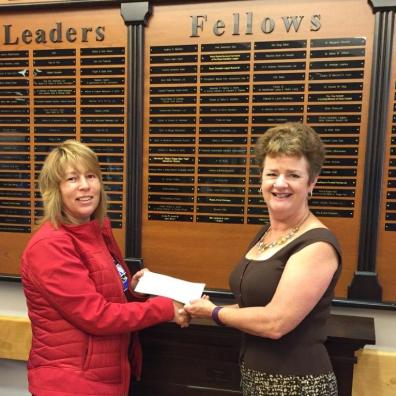 Vawn Jeddry (L), VP Health, Safety & Environment for JV Driver, recently presented a donation in memory of Erika Elkington to Paulette Sweeney-Goodwin, YHF Managing Director. Erika was born at the Yarmouth Regional Hospital in 1985. Her name is now on the Foundation's Wall of Honour under Fellows.